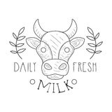 Fresh Milk Product Promo Sign In Sketch Style With Cow And Plant Branches, Design Label Black And White Template Stock Photo