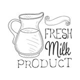 Fresh Milk Product Promo Sign In Sketch Style With Glass Jug, Design Label Black And White Template. Monochrome Hand Drawn Promotional Farm Product Poster Royalty Free Stock Photography