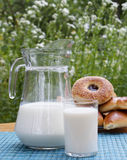 Fresh milk and ruddy pies Stock Photos