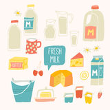 Fresh milk set. Dairy products - milk, yogurt, cheese, butter, milkshake. Royalty Free Stock Photos
