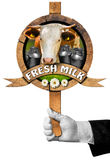 Fresh Milk -  Sign with Hand of Waiter Royalty Free Stock Image