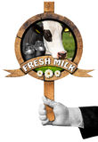 Fresh Milk -  Sign with Hand of Waiter Stock Photo