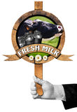 Fresh Milk -  Sign with Hand of Waiter Royalty Free Stock Photography