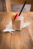Fresh milk, strawberry and banana smoothie drink on wodeen table Royalty Free Stock Photo