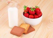 Fresh milk and strawberry Stock Photos