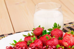Fresh milk and strawberry Stock Image