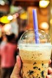 Fresh Milk Tea With Grass Jelly. Fresh Ice Milk Tea With Grass Jelly A Favorite Drink Royalty Free Stock Photo