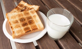 Fresh milk and Toast a Royalty Free Stock Photography