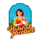 Fresh milk vector logo. sour cream, cottage cheese or milkmaid, dairymaid, dairy farm icon. Happy young girl holding a jug of fresh milk. vector illustration Royalty Free Stock Images