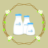Fresh Milk Vector. Three fresh bottles of milk, with circle floral background vector illustration