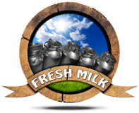Fresh Milk - Wooden Icon with Cans Stock Image