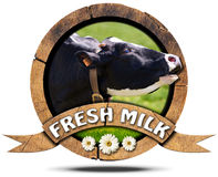 Fresh Milk - Wooden Icon with Cow Royalty Free Stock Images