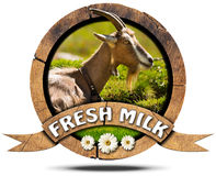 Fresh Milk - Wooden Icon with Goat Stock Images