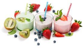 Fresh milkshakes stock photo