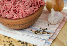 Fresh minced meat. In ceramic bowl Royalty Free Stock Image