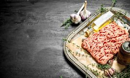 Fresh minced meat with garlic and spicy herb. On the black chalkboard Stock Photo