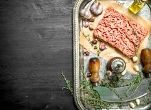 Fresh minced meat with garlic and spicy herb. On the black chalkboard Royalty Free Stock Photo