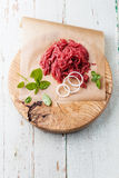 Fresh minced meat with onion Stock Images