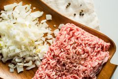 Fresh minced meat with onions. Meat minced on a wooden tray. spices, salt and onions Royalty Free Stock Images