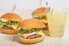 Fresh mini burger served meal Stock Photos
