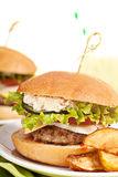 Fresh mini burger served meal Stock Images