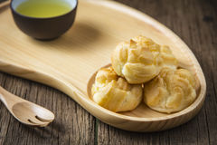 Fresh mini cream puff Stock Photos