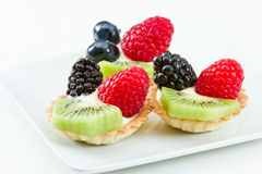 Fresh mini fruit tarts Stock Image
