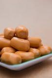 Fresh mini sausage in dish Royalty Free Stock Photo
