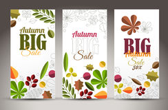 Fresh minimalist fall vertical banners with leafs and sample text Stock Photo