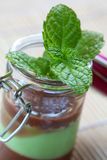 Fresh mint on chocolate cream Royalty Free Stock Photography