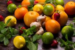 Fresh mint and citrus fruit. Stock Photo