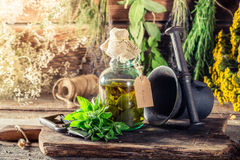 Fresh mint leaves in bottles as therapeutic cure Royalty Free Stock Image