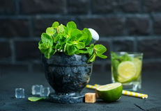 Fresh mint. Lemon and sugar for mojito royalty free stock images