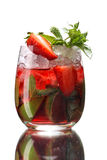 Fresh mint and strawberry water Stock Photos