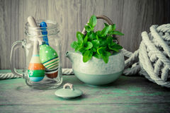 Fresh mint in tea pot Stock Photo