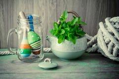 Fresh mint in tea pot Stock Photo