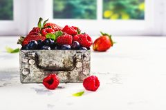 Fresh mix of berries in a metal box on white stone background Stock Photography