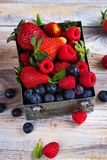 Fresh mix of berries in a metal box on white stone background Royalty Free Stock Photo