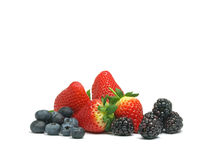 Blueberries, strawberries and blackberries Royalty Free Stock Photography