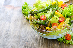 Fresh mix salad with green asparagus for healthy snack Royalty Free Stock Image