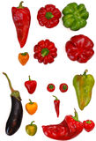 Fresh mix of vegetables paprika and aubergine on white backgroun Royalty Free Stock Photography