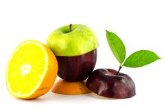 Fresh mixed fruit diet. On white background Royalty Free Stock Images