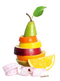Fresh mixed fruit with measuring tape royalty free stock image