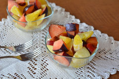 Fresh mixed fruit salad in the bowl Stock Photography