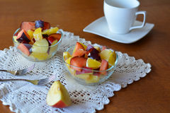 Fresh mixed fruit salad in the bowl Royalty Free Stock Photography