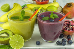 Fresh mixed fruit smoothies