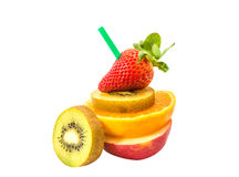 Fresh mixed fruit with straw Royalty Free Stock Images
