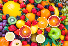 Fresh mixed fruits. Fruits background.Healthy eating, dieting Stock Photo