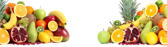 Fresh mixed fruits both side Royalty Free Stock Photo