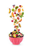 Fresh mixed fruits  falling into Stock Photography